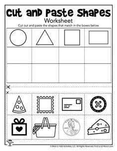 Preschool Learning Activities, Preschool Worksheets, Printable Worksheets, Printable Crafts, Shapes Worksheet Kindergarten, Kindergarten Colors, Cut And Paste Worksheets, Shapes Worksheets, Pre K Curriculum