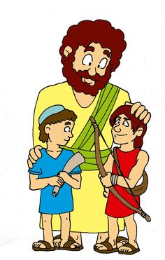 Isaac con sus hijos: Jacob y Esaú