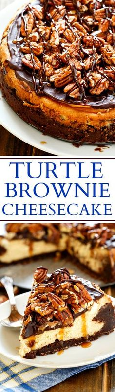 Turtle Brownie Cheesecake with a brownie crust, a creamy cheesecake filling, chocolate ganache, and toasted pecans and caramel sauce.