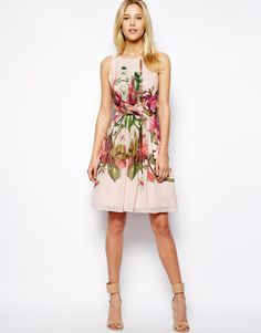 Ted Baker floral print; above the knee, pink