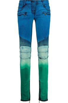 Balmain Tie-dye low-rise skinny jeans | THE OUTNET