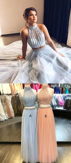 Unique Two Piece A-Line High Neck Sleeveless Long Prom Dress With Beading+#promdresses #longpromdresses #2018promdresses #twopiecepromdresses