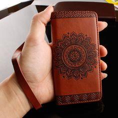 Javu - Huawei P9 Lite Hoesje - Wallet Case Vintage Mandala Bruin   Shop4Hoesjes