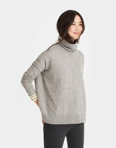 Rolanda Grey Turtle Neck Sweater | Joules US