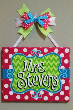 Lime Green, Teal, and Hot Pink Chevron Stripes and Polka Dot Name Canvas for Teachers, offices, nurs Teacher Door Signs, Teacher Door Hangers, Teacher Doors, Canvas Crafts, Diy Canvas, Canvas Ideas, Canvas Art, Teacher Canvas, Handarbeit