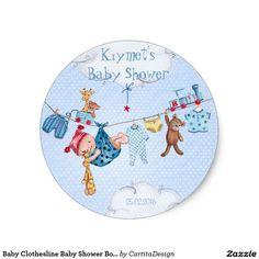 Baby Clothesline Baby Shower Boy | Circle Sticker