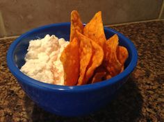 Doritos and cottage cheese! Yum!!