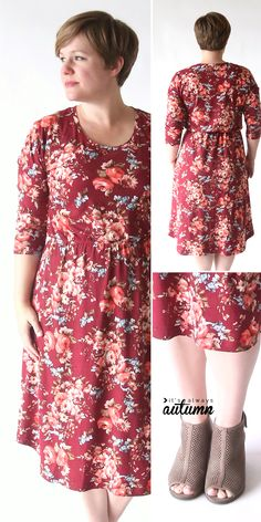 This cute midi length dress is super easy to sew using a free tee shirt pattern. How to sew a women's dress.