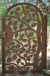METAL-ART-GATE-DESIGNER-CUSTOM-RUST-WROUGHT-IRON-STEEL-GARDEN-FACTORY-DIRECT