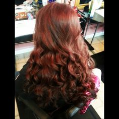 Fancy red hair. Long red hair. Flat iron curls. Done by Michelle Shahan