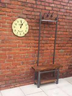Hallway coat rack stand rustic oak and by Redcottagefurniture