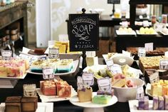 Handmade soap store in Hot Springs, Arkansas. Handmade soap at Bathhouse Soapery. Craft Fair Displays, Display Ideas, Booth Ideas, Vendor Displays, Craft Stalls, Soap Display, Soap Shop, Soap Maker, Craft Show Ideas