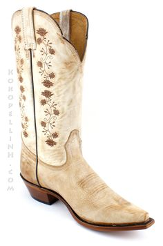 IN-STOCK Boulet Rugged Country Tan Floral Boots 0831