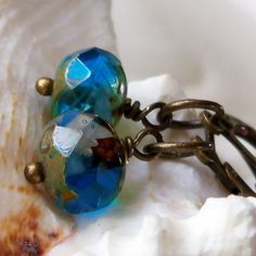 Sea Blue and Antique Brass Dangle Earrings by mompotter on Etsy, $8.00