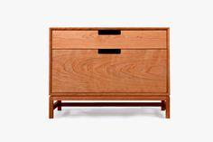 A minimalist, rectilinear dresser with a tectonic base, the Ada Tallboy  Dresser is crafted entirely from solid ash with a hand-rubbed, Danish soap  finish. With self-closing drawers and finger pulls for easy opening.Also  available in white oak and walnut. Made in Chicago.
