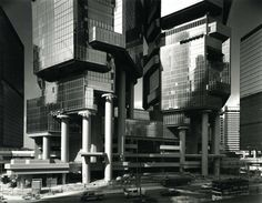 paul rudolph's bond centre (now the lippo centre) in hong kong, completed 1988.