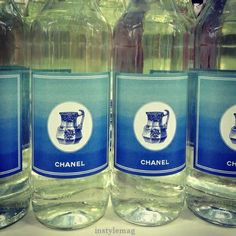 Chanel Supermarket / Chanel Shopping Center / Supermarche. Paris Fashion Week 2014. Grand Palais. Bottle of water with blue and white pitcher on label
