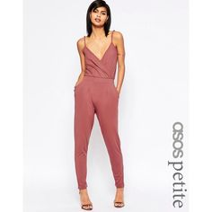 ASOS PETITE Cami Wrap Front Jersey Jumpsuit with Peg Leg ($39) ❤ liked on Polyvore featuring jumpsuits, black, petite, white jersey, asos jumpsuit, pink cami, pink jumpsuit and asos