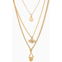 Peace and Protection Necklace ($15) ❤ liked on Polyvore featuring jewelry, necklaces, accessories, gold, charm necklace, gold necklace, gold chain necklace, peace sign necklace and gold peace sign necklace