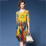 Women's Casual/Daily Plus Size Chinoiserie Loose Chiffon Dress,Floral Print Round Neck Knee-length Half Sleeves Nylon Spring Mid Rise 2017 - $13.99