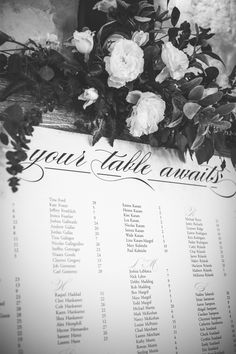 Such a beautiful wedding table assignment sign for your wedding reception. Love the bouquet embellishing the top! Taken at THE SPRINGS in The Woodlands. Follow this pin to our website for more information, or to book your free tour! Photographer: Tru Identity Photography #weddingsign #weddingsignideas #weddingreception #weddingreceptionideas #weddingideas #weddingdecor #weddingdecorations
