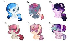 Ocean Galaxy, Gray Prism, Violet Spectrum, Blood Universe, Peach Sandy and Neonverse. Ocean gray adopted by madi d. Violet spectrum and neon verse adopted by midnight sparkle