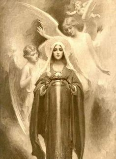 The sorrowful Virgin Mary stares at the beholder in this illustrative artwork by CB Chambers. Angels surround and comfort Our Lady who holds the crown of thorns in her hands. Religious Pictures, Religious Icons, Religious Art, Blessed Mother Mary, Blessed Virgin Mary, Catholic Art, Catholic Saints, Roman Catholic, Images Of Mary