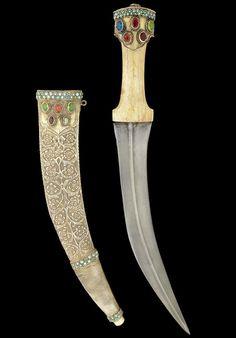 A gem-set walrus-hilted steel Dagger -  Bukhara, 19th Century