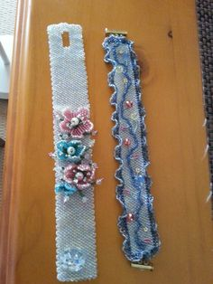 Bracelets using a peyote stitch base with beaded decorations