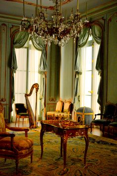 Classical French interior with lovely harp