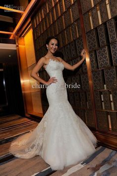 Wholesale 2013 Fall Strapless Sweetheart Lace Applique Wedding Dresses Mermaid Bridal Gown Swarovski Crystal, Free shipping, $262.08-275.52/Piece | DHgate