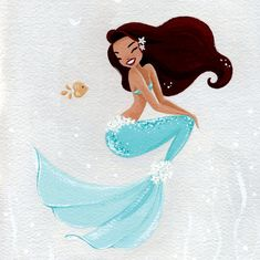 Cute mermaids, fine art prints from original, gouache, turquoise and grey illustration, cute and girly by FantomFifiArt on Etsy