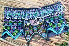 belt Hmong Blue Beaded Mini Skirt Womens Vintage by SiameseDreamDesign, $82.00