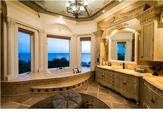 Luxurious bathroom in this Amazing Home in Seacrest, Florida Commercial Real Estate, Amazing Bathrooms, Luxury Real Estate, Corner Bathtub, My House, Home Goods, Sweet Home, Florida, House Design