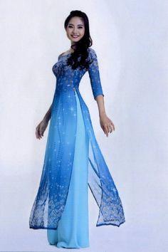 Blue silk flowy ao dai