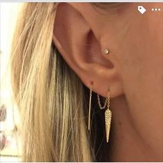 My Stella & Dot peeps are so creative. How awesome is this idea to take our Seine threader earrings and thread them through both holes? This picture makes me want to get a second hole like yesterday!  Grab a silver or gold pair on my site - http://ift.tt/1Vlm5XT