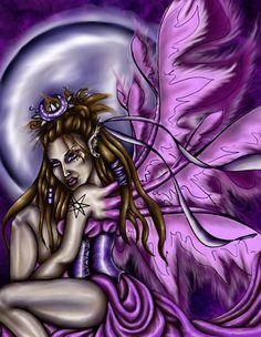 """Rhiannon's Shadow"" Major Arcana The Sidhe Queen Oracle -    PHANTOM'S  ROSE: the Fantasy Faery WORLD  of  Coriander Shea ©Coriander Shea Detwiler."