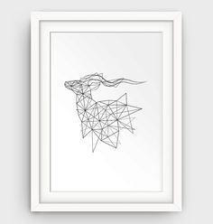 Geometric Deer Art Print Deer Geometric Animal by GalliniDesign