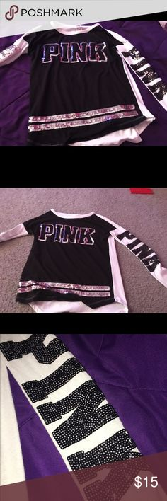Black and white sparkly PINK shirt PINK black & white sparkly shirt PINK Victoria's Secret Tops Tees - Long Sleeve