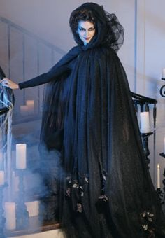 Halloween Black Tulle Cloak with Dead Roses Costume-LOVE it! So much better than the sleazy attire they put out there for women to wear.
