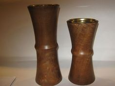 """Set of Two Bamboo Wooden Candle Holder Pillar Kohl's Brand 10"""" Tall 9"""" Tall 
