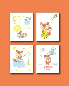 Fox Nursery Art Print  Baby Fox 4 Set Print  by HappyLittleBeans