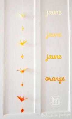 guirlande grue origami jaune tie and die.  http://www.m-a-creation-graphique.blogspot.fr/