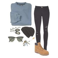 """""""Untitled #154"""" by cooliguess ❤ liked on Polyvore featuring Frame Denim, Phase 3, Timberland, Forum and Ray-Ban"""