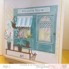 """Blumenladen Heute zeige ich euch das erste Werk aus dem neuen Thema """"My little Shop"""". Ich habe fast alles aus dem neuen Kit eingesetzt. Den blumigen Laden, die Aussendeko, das Stempelset und die Blumendeko. ...weiter gehts auf dem Blog ;o) #charlieundpaulchen #scrapbooking #happy #instagood #cardmaking #diycards #cardmakingideas #paperlove #cardsofinstagram #cardmaking #handmade #paperaddict @Steffi Laemmel Shops, Album, Kit, Blog, Home Decor, German Men, Cards, Happy Sunday, Scary"""