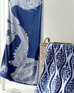 Blue and white Dragon Beach Towel, cotton, 40 x 70 inches, $34.90 at Horchow.