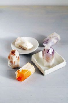 "Make some ""gemstone"" soap to use in the shower."