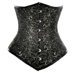 WT-023 - Waist training long line underbust corset in silver brocade    LUSH