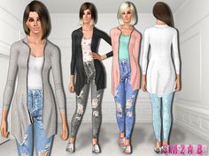 .:475 - Long sweatshirt with top and jeans:. Found in TSR Category 'Sims 3 Female Clothing'