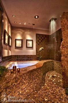 Master Bathroom #Brown #Gold #Tile